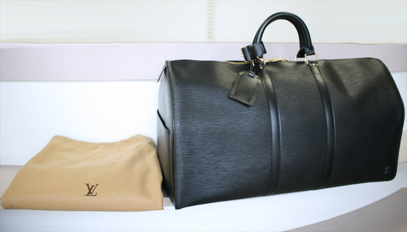dabcb20c228 LOUIS VUITTON KEEPALL 55 Epi Black Noir Travel Bag No.828