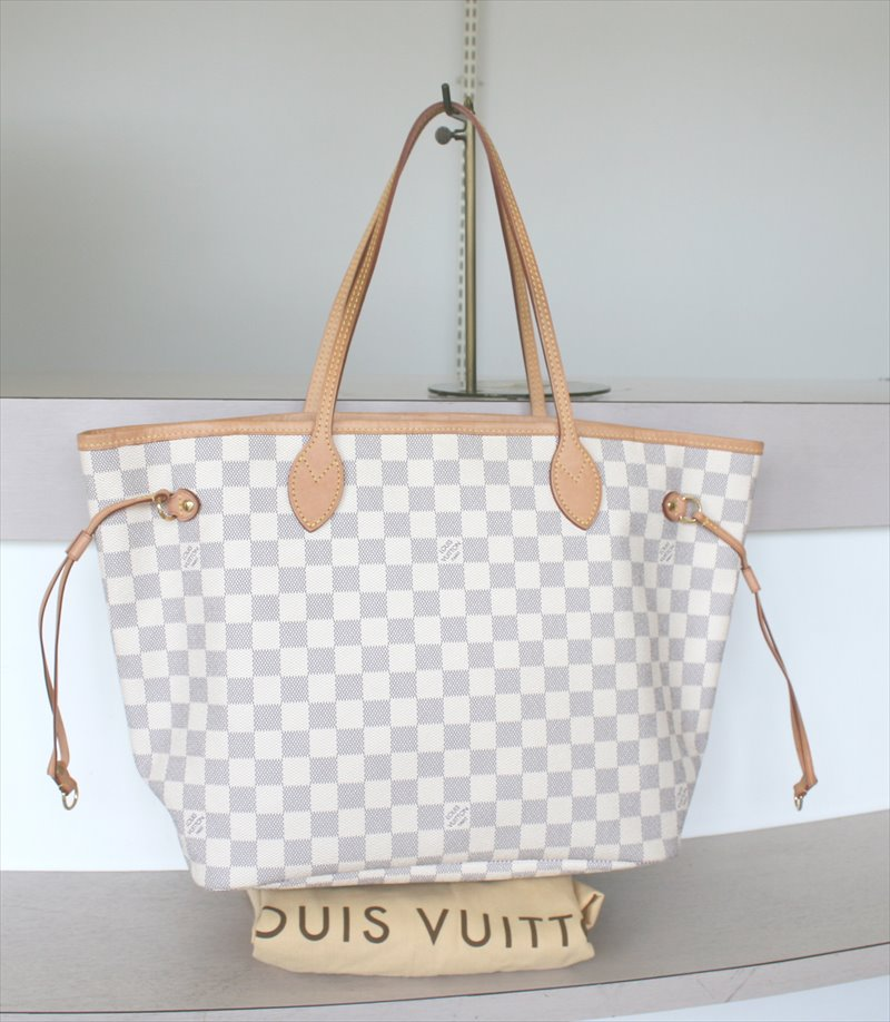 624b7acb8f22 LOUIS VUITTON NEVERFULL MM Damier Azur Tote bag No.916